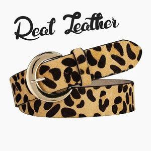 1 left! New Genuine Leather Leopard Print Belt